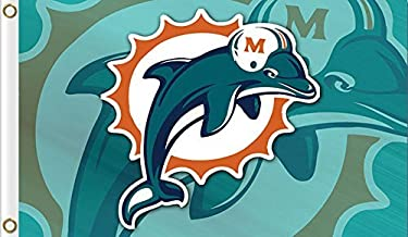 New Miami Dolphins Flag, Dolphins Flag, Five Star Flags, Flag for Indoor or Outdoor Use, 100% Polyester, 3 x 5 Feet.