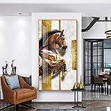 hetingyue Horas Modernas nutrir Lienzo Pintura impresión de Carteles Animal único Pared Sala de Estar Dormitorio Pasillo Pintura sin Marco 30X48 CM