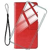 WANCJX Funda Libro + [2 Pieza] Cristal Templado Film para HTC Desire 21 Pro (6.70 Pulgada) Carcasa,Antigolpes Cover Carcasa PU Leather Case Protector de Billetera Caso,HD Cristal Templado Membrana