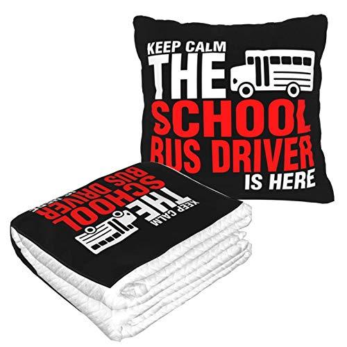 Cobija de viaje suave y cálida 2 en 1 de alta calidad con diseño de autobús escolar Driver is Here para dormir