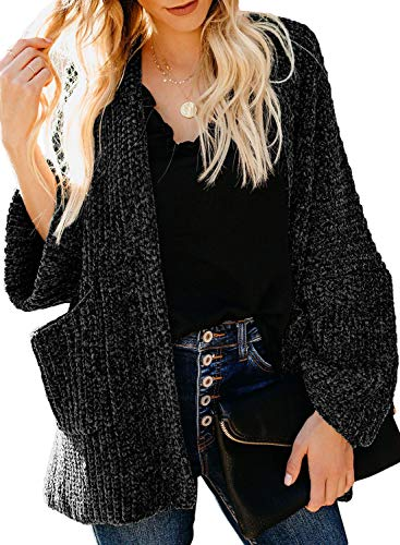 Dokotoo Womens Winter Loose Oversized Autumn Warm Raglan Long Sleeve Open Front Chenille Velvet Knit Cardigans Sweaters Coats Jackets Outerwears with Pockets Black Small