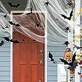 Sumind Set de Decoración de Casa de Halloween Incluye 60 Decoraciones de Murciélagos 3D, 60 Arañas Grande 3D y Telaraña Elástica (60 g) para Casa Calcomanías de Pared de Bricolaje
