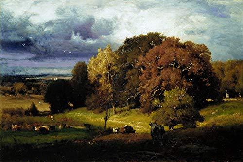 // TPCK // George Inness – Autumn Oaks (1878) – Gemälde Foto Poster Druck Kunst Geschenk Home Wall Decor – Englische Eichenbäume – Größe: 53,3 x 35,5 cm