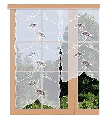 artex deko Scheibenhänger Ginko in Weinrot echte Plauener Spitze Moderne Flächengardine Scheibengardine mit Blumen-Muster