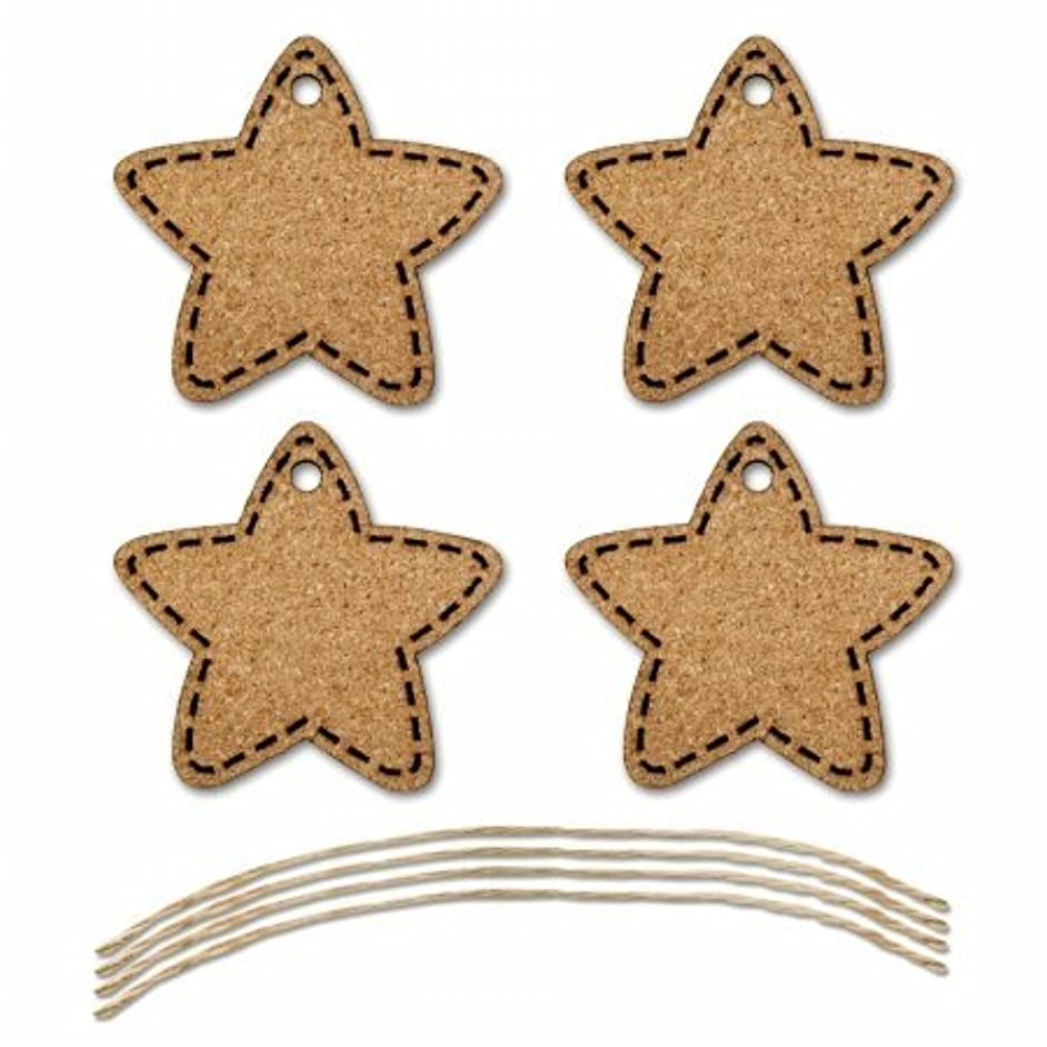Multicraft Imports SE611B Star Cork Tags with Jute Cord (4 Pack), Brown