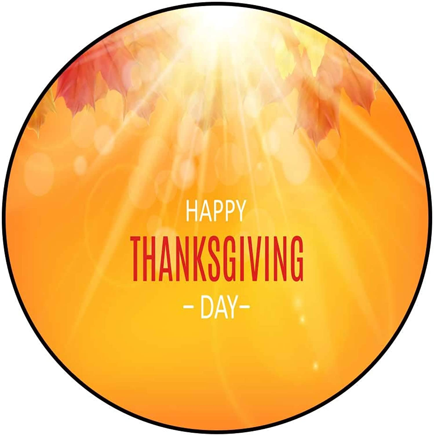 Hua Wu Chou Round Exercise matround BBQ Grill mat D3'6 1.1m Happy Thanksgiving Day Background with Shiny Autumn Natural Leaves Vector Illustration12