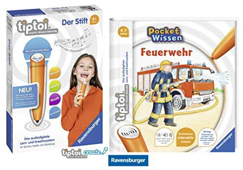 tiptoi Ravensburger Buch 4-7 Jahre | Pocket Wissen - Feuerwehr + Ravensburger 008018 Stift - neu mit Aufnahmefunktion