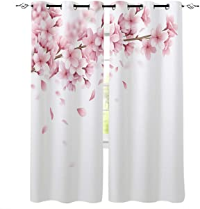 CHARMHOME Grommet Curtain Pink Cherry Blossom with Branches Garden Art Print Window Curtains Draperies for Bedroom and Living Room, Set of 2 Panels, 52 by 84-Inch