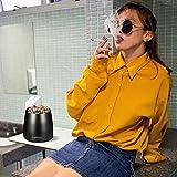 Lyihlou Aschenbecher Edelstahl mit Deckel, Winddichter Tischaschenbecher für Zigaretten, Moderne Tischplatte Aschenbecher tragbar mit rutschfestem Basis für Draußen und Innen schwarz 8 * 7.5 * 6.5cm - 4