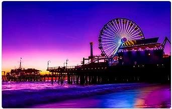 Tree26 Indoor Floor Rug/Mat (23.6 x 15.7 Inch) - Santa Monica Pier Amusement Ferris Wheel Lights