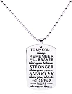 Galaxia Air to My Son Tag Stainless Steel Pendant Always Remember You are Braver Than You Believe Letters Boys Necklace Military Chain Air Force Pendant