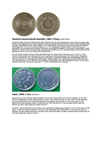 Kalenderblatt zum Jahr 1969: Zu Besonderheiten des üblichen 5-Markstücks der DDR (Fünf Mark DDR des Jahres 1969 und ein Yen Japan dieses Jahres)