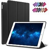 New iPad 9.7-inch 2018 2017 Case, ROARTZ Black Slim-Fit Smart Rubber Folio Case Hard Cover Light-Weight Wake Sleep for Apple iPad 5th 6th Generation Retina Model A1893 A1954 A1822 A1823