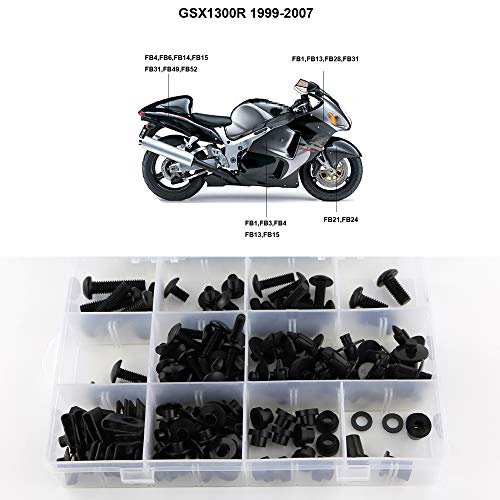 Xitomer Full Sets Fairing Bolts Kits, for Suzuki GSX1300R HAYABUSA 1999 2000 2001 2002 2003 2004 2005 2006 2007, Mounting Kits Washers/Nuts/Fastenings/Clips/Grommets (Matte Black)