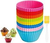 HEHALI 40pcs Silicone Cupcake Baking Cups Kutsinta Molder Cupcake Liners Muffin Molds, 8 Colors Regular Size