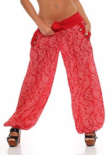 Malito Damen Pumphose mit Orient Print | leichte Stoffhose | Freizeithose für den Strand | Haremshose - luftig 3488 (rot)