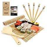 MUDEELA Kit de sushi de bambú, karbonisierte Roll Matte para moho resistente a golpes, contiene 2 esterillas Roll – 5 pares palillos – Paddle – Spreader – Principiantes Guía (PDF)