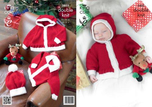King Cole DK Knitting Pattern - 3803 Christmas Jackets & Hats