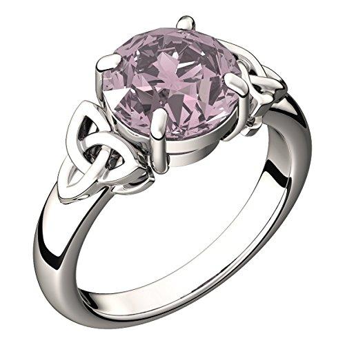 Sterling Silber, 8mm 2.5ct Runder Saphir rosa CZ Diamant, Oktober Geburtsstein und Sternzeichen Waage Farben, irisch keltischer Trinitäts Knoten Bandring, drücken Sie Ihre ewige Liebe aus – 8