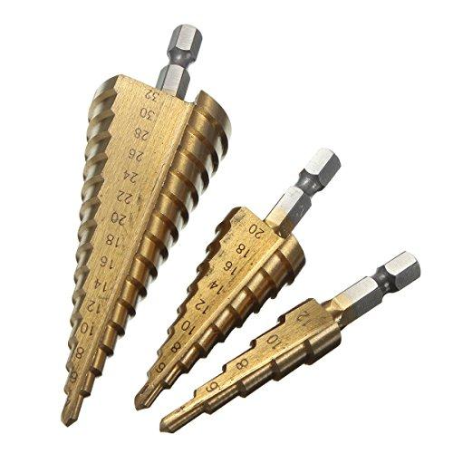 Taladro HSS más barato Taladro Taladro de titanio cónico 1/4 Varilla hexagonal para destornillador de perforación 4-12 mm/4-20 mm/4-32 mm