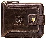 BULLCAPTAIN Mens Genuine Leather Zipper Wallet RFID Blocking Bifold Zip Around Multi Credit Card Holder,Big (brown)