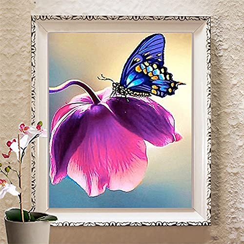 Diamond Painting Kits Full Drill Purple Flowers Butterfly,DIY 5D Diamond Painting by Numbers Kits Crystal Large Embroidery Cross Stitch Art for Living bedroom Wall Decor Square Drill,80x100cm(32x40in)