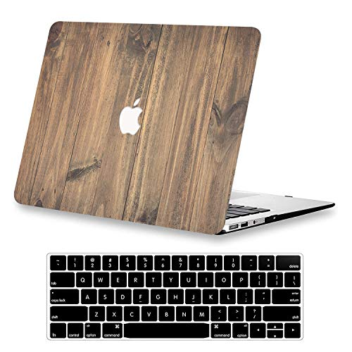 KEROM MacBook Air 13 Inch Case 2020 2019 2018 New Version A1932/A2179, Rubberized Plastic Hard Shell Case Cover &Keyboard Cover Compatible Newest MacBook Air 13'' Retina with Touch ID,Wood Grain