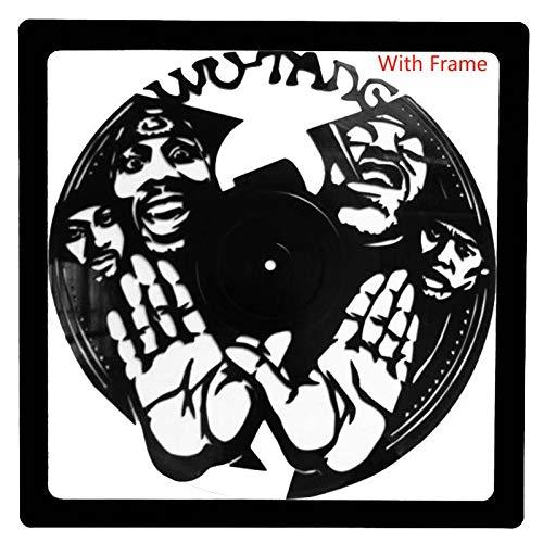 WuTang Hip-Hop Music Singer Vinyl Record Album Muurkunst Creatieve Sticker-met Magnetisch Frame-Geweldig Gift Kerstmis DJ Fan (Zwart)