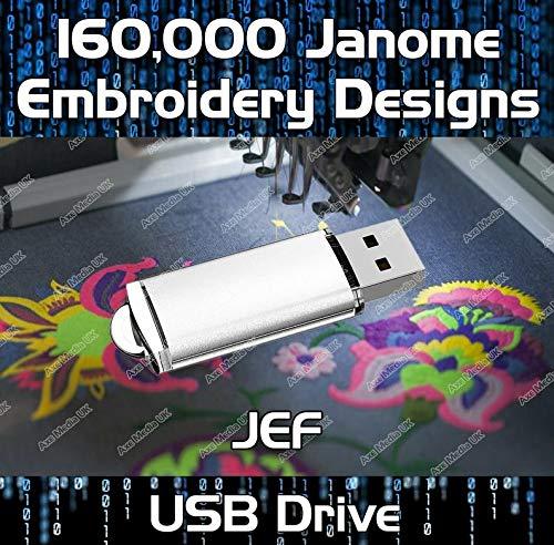Diseños de bordado de 160 K JEF en un USB Stick coser diseños