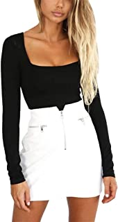 Fashion Long Sleeve Solid Square-Neck Blouse Long Top Loose T-shirtWomen