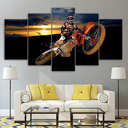 Wohnzimmer Wandkunst Home Decoration Bilder HD gedruckt 5 Panel Action Motocross Moderne Malerei auf Leinwand Poster + Sky Sunset Motorrad Motocross + Sky Sunset Motorrad Motocross