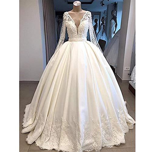 QING XIN-1225 Wedding Dress,Prom Dresses del Banquete de Manga Larga Vestido de Novia Nuevo V-Cuello Vestido de Novia árabe Dubai Larga Evening Dresses (Color : White, US Size : 10)