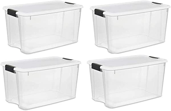 STERILITE 70 Quart Clear Storage Container Box Tote 4 Pack