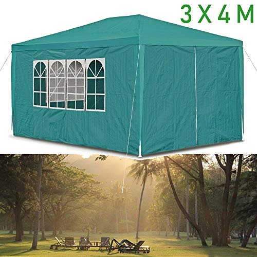 3x4M(12 square meter) Gazebo Marquee Tent Sunscreen Canopy Garden Wedding Party, Waterproof 120g PE Cover and Thicken Tubes, Green