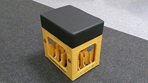 Möbel Akut Sitzhocker Soccer-Hocker Bierkasten Sitz Polster (Schwarz)