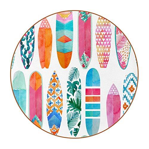 Posavasos divertidos para bebidas, bar, regalos de inauguración de la casa, juego de 15,1 cm, tablas de surf de acuarela