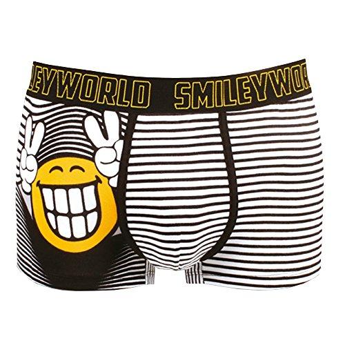Smiley World Smile at me lustige Boxershort Unterhose Pant Underwear Geschenk für Herren, Jungen, lustig witzig frech viele Smileys 95% Baumwolle (S)