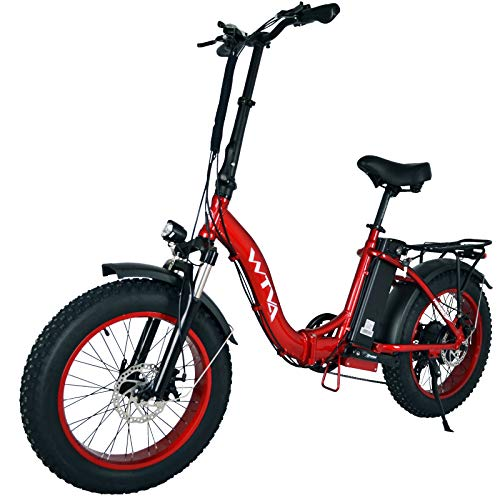 Electric Bike for Adults, Folding Electric Bicycles with 20 Inch Fat Tire 750W Motor 48V 13AH Removable Battery, Beach Snow Hunting E-Bikes for Women Men Elder (Red-f20)