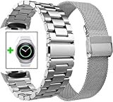 Koreda Compatible with Samsung Gear S2 Bands Sets, 2 Pack Stainless Steel Metal Band + Mesh Loop Replacement Bracelet Strap for Gear S2 Sport Smart Watch SM-R720/R730 (2 Pack Silver)