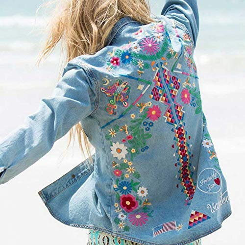 NZJK Denim Jas Vrouwen Jas Mode Denim Shirt Tops Lange Mouwen Blauw Vintage Boho Hippie Chic Borduurwerk Basic Jassen Kleding