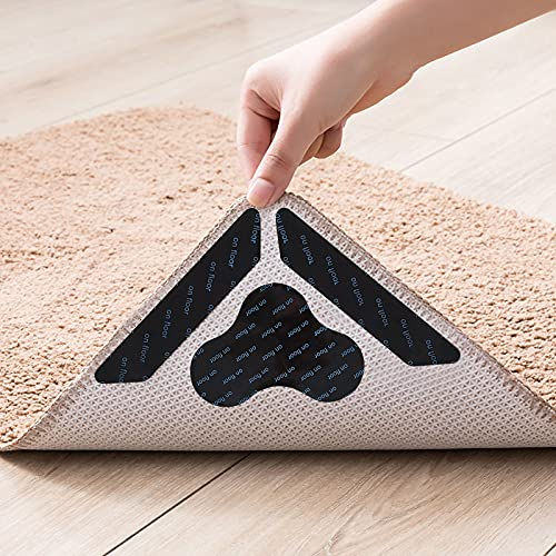 SERAPHY Rug Gripper,12 PCS Rug Grippers for Area Rugs on Carpet, Non Slip Rug Gripper for Hardwood Floors,Anti Slip Carpet Pads for Tile/Wood Floor to Prevent Curling, Cloud/Trapezoidal, Black