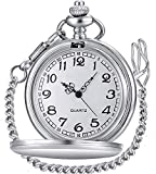 LYMFHCH Classic Smooth Vintage Quartz Pocket Watch, Arabic Numerals Scale Mens Womens Watch with Chain Christmas Graduation Birthday Gifts Fathers Day