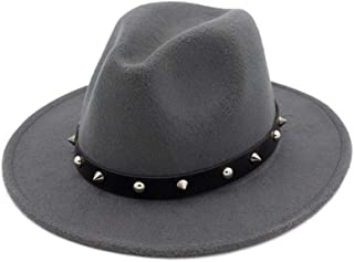 Women Men Fashion Wool Fedora Hat with Punk Rivet Ribbon Elegant Lady Dad Winter Autumn Wide Brim Jazz Church Godfather Sombrero Caps` TuanTuan (Color : Gray, Size : 56-58)
