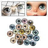 MIsha 20 Piezas Ojos de seguridad de Vaso Juguete animal de cristal ojos, Ojos de seguridad para amigurumi muñecas títere oso de peluche animal de peluche(8mm)