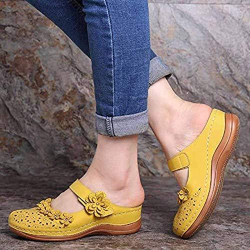 JFFFFWI Sandalias de cuña para Mujer Sandalia de Cuero de Verano Zapatos de Plataforma con Punta Cerrada Zuecos de Mula para Mujer Sandalias Verano al Aire Libre Jardín Sin Espalda Zapatillas para c