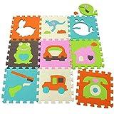 qqpp Eva PuzzlematteKinderspielteppichSchaumstoffmatteSpielmatte BabySpielteppich9 TLG.(30*30*1.0cm,Tiere, Autos usw.).QQP-35b13N