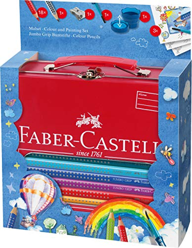 Faber-Castell 201312 Malkoffer Jumbo Grip 18 Buntstifte, Bleistift, Pinsel und Wasserbecher
