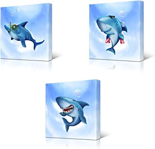 HOMEOART Ocean Animal Shark Painting Canvas Prints Blue and White Kids Children Bathroom Wall Decor Gift Framed Ready to Hang 12