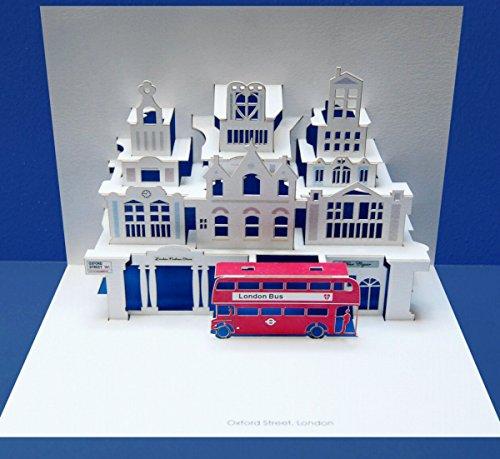 FOREVER Pop Up 3D Karte London Grusskarte Geburtstag Gutschein Red Bus Urlaub 16x11cm