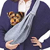 Meric Small Dog Sling Carrier Bag, Socialize and Bond with Your Best Friend, Adorable Reversible Pattern with Cross-BodyComfort and Security